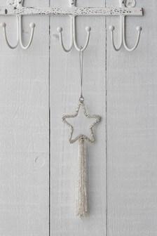 Strieborná závesná dekorácia v tvare hviezdy