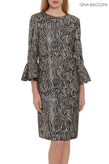 Gina Bacconi Black Edrie Zebra Sequin Dress