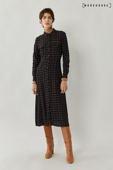 Warehouse Black Check Midi Utility Shirt Dress