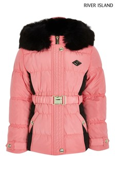 River Island Pink Bright Blocked Ruched Padded Jacket