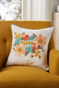 """Подушка с цветочным узором и надписью """"Happy Always"""""""