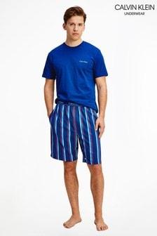 Calvin Klein藍色針織睡衣袋裝短褲套裝