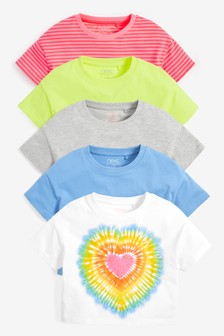 5 Pack Tie Dye Heart Boxy Cropped T-Shirts (3-16yrs)