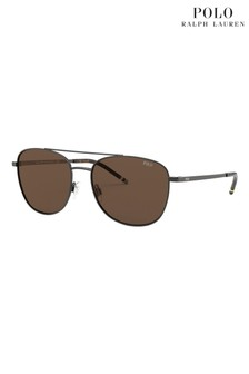 Polo Ralph Lauren Gunmetal/Brown Sunglasses