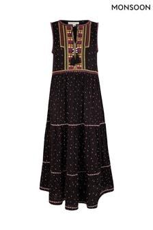 Monsoon Black Malakai Embroidered Jersey Midi Dress