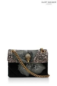 Kurt Geiger London Black Beige Fabric Mini Kensington Bag