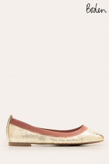 Boden Gold Hettie Flexi Ballerina Pumps