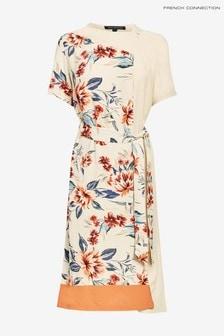 French Connection White Claribel Drape Print Mix Dress