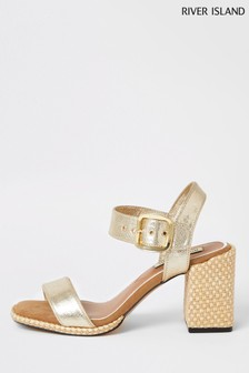 River Island Gold Two Part Block Heel Sandals