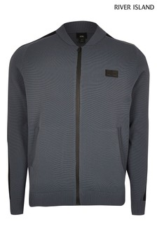 River Island Grey Premium Taped Bomber Jacket