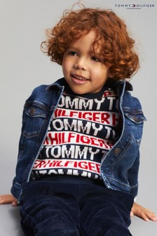 Tommy Hilfiger Navy All Over Branded Sweater