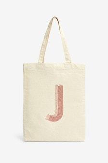 Многоразовая парусиновая сумка с инициалом