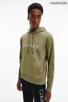 Calvin Klein綠色棉質標誌連帽上衣