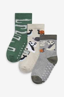 Набор из 3 пар хлопковых домашних носков со зверями и противоскользящей подошвой (Младшего возраста)