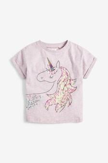 Tričko s krátkymi rukávmi Sequin Unicorn (3 – 16 rok.)
