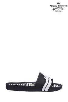Papuci de plajă Vivienne Westwood by Melissa negru în contrast
