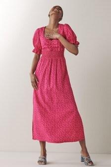 Платье миди со сборками