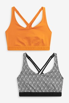 Sports Low Impact Crop Tops 2 Pack