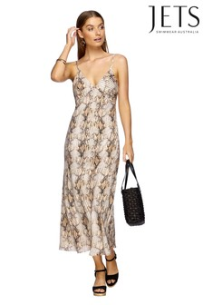 Jets Snake Print Awakening Slip Dress