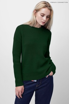 French Connection Green Babysoft Ribbed Crew Neck Jumper