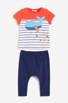 T-Shirts mit Wal-Print und Leggings im Set (0Monate bis 2Jahre)