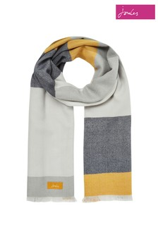 Joules White Bridey Checked Scarf