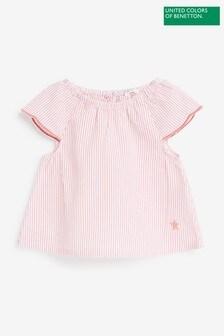 Benetton粉色條紋T恤