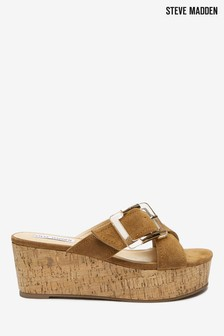 Steve Madden Tan Suede Buckle Wedge Sandals
