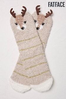 FatFace Natural Fluffy Deer Socks