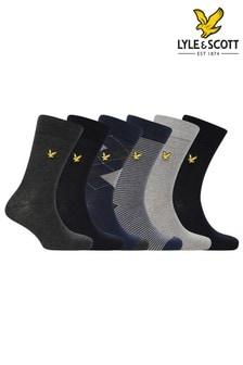 Lyle & Scott Blue Socks Six Pair Gift Set