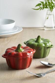 Set of 2 Lidded Pepper Ramekin Dishes