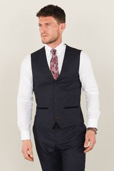 Trimmed Check Suit: Waistcoat