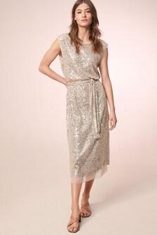 Sequin Belted Dress