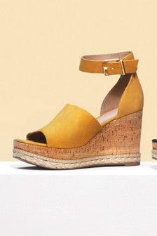 皮革魚嘴楔形鞋涼鞋