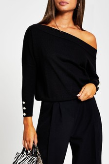 River Island Black Open Neck Asymmetric Top