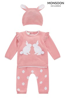 Monsoon New Born Baby Pink Bunny Knit Set With Hat
