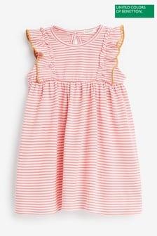Benetton條紋褶邊連衣裙