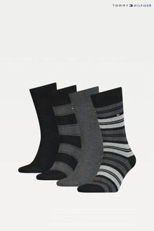 Tommy Hilfiger Black Stripe Sock Tin Giftbox 4 Pack