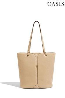 Oasis Nude Stud Detail Tote Bag