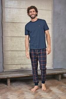 Bequemes Pyjama-Set mit Bündchen und Karomuster