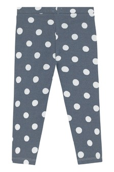 Cath Kidston® Blue Button Spot Twill Baby Leggings