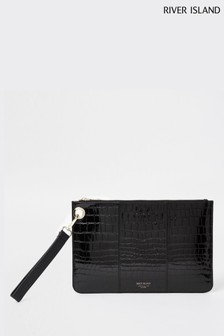 River Island Black Med Croc Pouchette Bag