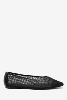 Mesh Pointed Toe Ballerina Shoes