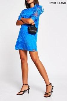 שמלתמיניכחולה עם שרווליםנפוחיםOrganza שלRiver Island