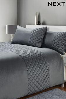 Grey Hamilton Velvet Duvet Cover And Pillowcase Set