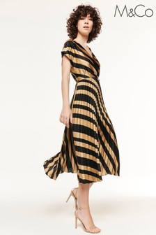 M&Co Black All Over Print Pleated Dress