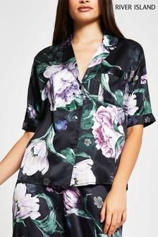 River Island Black Floral Pyjama Shirt