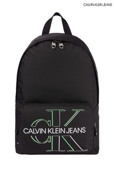 Calvin Klein Jeans黑色校園風螢光標誌背囊