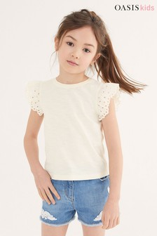 Oasis Broderie Frill Sleeve Jersey Top