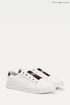 Tommy Hilfiger White Elastic Slip-On Trainers